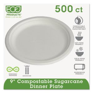 "Eco Products 9"" Sugarcane Dinner Plate, 500 Plates (ECP EP-P013)"