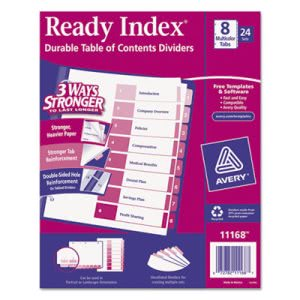 Avery Index Table/Contents Dividers, 8-Tab, Letter, Assorted, 24 Sets (AVE11168)
