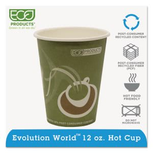 Eco-products World Hot Drink Cups, Green, 12 oz, 1000 per Carton (ECOEPBRHC12EW)