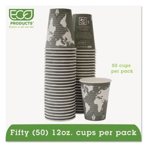 World Art Compostable 12 oz. Hot Cups, 12 oz, Green, 50/Pack (ECOEPBHC12WAPK)