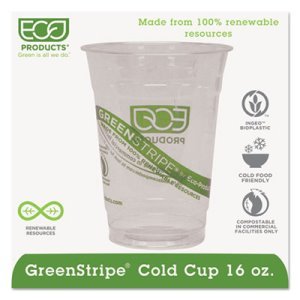 GreenStripe Renewable Cold Drink Cups, 16 oz, Clear, 1000 Cups (ECOEPCC16GSCT)