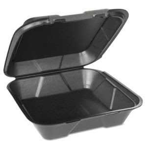 Genpak Foam Hinged Carryout Containers, Black, 200 Containers (GNPSN200VW3L)