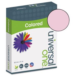 Universal Colored Paper, 20lb, 8-1/2 x 11, Pink, 500 Sheets (UNV11204)