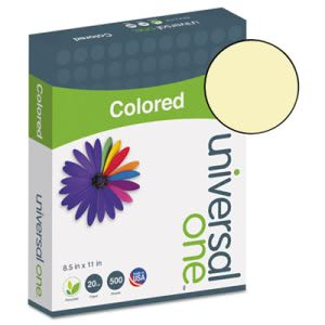 Universal Colored Paper, 20lb, 8-1/2 x 11, Canary, 500 Sheets (UNV11201)