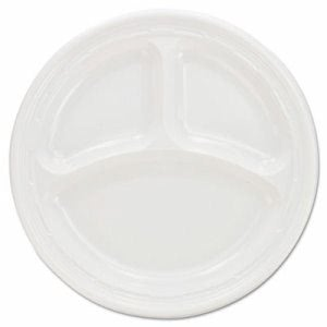 "Impact 9"" Three Compartment Plastic Plates, 500 Plates (DCC 9CPWF)"