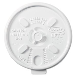 Dart Lift n' Lock Plastic Hot Cup Lids, 6-10oz Cups, White, 1000 Cups (DCC8FTL)