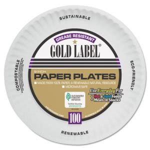 AJM Coated Paper Plates, 9 Inches, White, Round, 1,200 Plates (AJMCP9GOAWH)