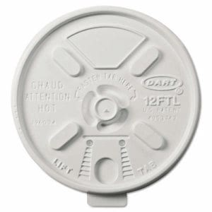 Dart Vented Foam Lids for 10-14 oz Foam Cups, Lift n' Lock Lid (DCC12FTL)