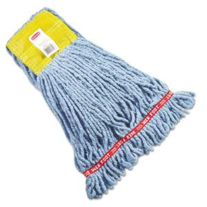 Rubbermaid A251 Web Foot Wet Mop Heads, Blue, Small, 6 Mop Heads (RCPA251BLU)