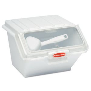 Rubbermaid 9G60 ProSave Shelf-Storage Ingredient Bin w/Scoop, White (RCP9G60WHI)