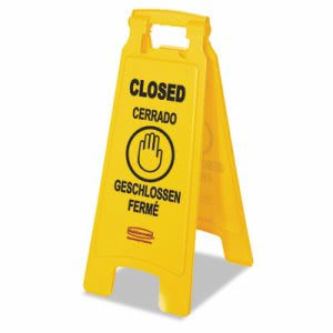 "Rubbermaid 611278 Multilingual ""Closed"" Floor Sign, Yellow (RCP611278YEL)"