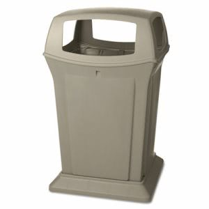 Rubbermaid Ranger 45 Gallon Trash Container, Beige (RCP 9173-88 BEI)