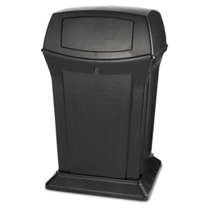 Rubbermaid 917188 Ranger 45 Gallon 2-Door Trash Can, Black (RCP917188BLA)