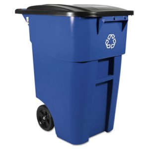 Rubbermaid 9W27 Brute 50 Gallon Rollout Trash Can w/Lid, Blue (RCP 9W27 BLU)