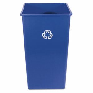 Rubbermaid 395973 Square 50 Gallon Recycling Can, Blue (RCP395973BLU)