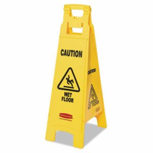 "Rubbermaid 6114-77 ""Caution Wet Floor"" 4-Sided Floor Sign, Yellow (RCP611477YEL)"