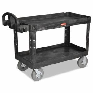 Rubbermaid 4546-10 HD 2-Shelf Utility Cart w/Lipped Shelf, Blk (RCP454610BLA)