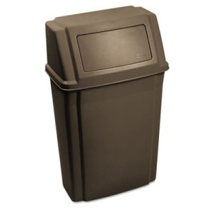 Rubbermaid Slim Jim Wall-Mounted 15 Gallon Container, Brown (RCP7822BRO)