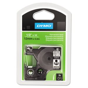 Dymo D1 Permanent High-Performance Polyester Label Tape, 1/2in x 18ft, Black on White (DYM16955)
