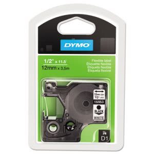 Dymo D1 Flexible Nylon Label Maker Tape, 1/2in x 12ft, Black on White (DYM16953)