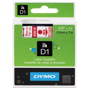 "Tape Cartridge for Dymo Label Makers, 1/2"" x 23', Red on Clear (DYM45012)"