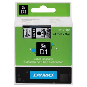 "Tape Cartridge for Dymo Label Makers, 1"" x 23', Black on Clear (DYM53710)"