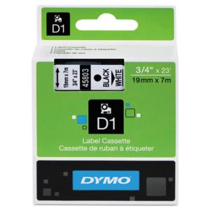 "Tape Cartridge for Dymo Label Makers, 3/4"" x 23', Black on White (DYM45803)"