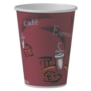 Solo Cup Bistro Design Hot Drink Cups, 12 oz., Maroon, 50 Cups (SCC412SINPK)