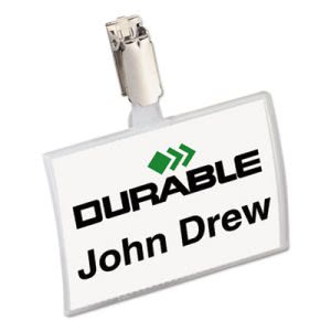 Durable Click-Fold Convex Name Badge Holder, Strap Clip, 3 3/4w x 2 1/4h, Clear, 25/Pk (DBL821619)