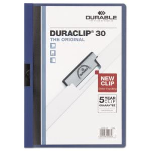 DuraClip Report Cover, Letter, Holds 30 Pages, Clear/Dark Blue (DBL220307)