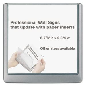 Durable Sign Holder For Interior Walls, 6 3/4 x 5/8 x 6 7/8, Gray (DBL497837)