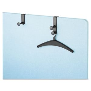 Quartet Over-The-Panel Hook w/Garment Hanger, 1 3/4 x 4 1/2, Black (QRT20701)