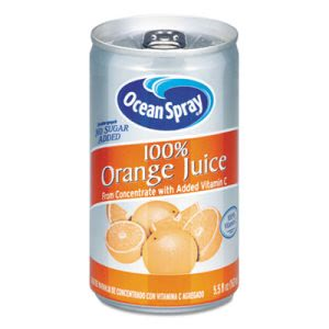 Ocean Spray 100% Juice, Orange, 5.5 oz Can, 48 Cans (OCS20453)