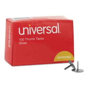 "Universal Thumb Tacks, Steel, Silver, 5/16"", 100/Pack (UNV51002)"