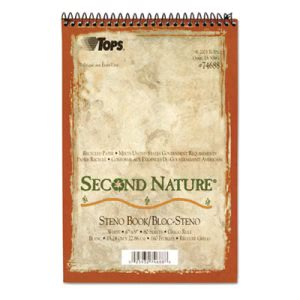 Tops Second Nature Spiral Reporter/Steno Notebook, Gregg Rule, 6 x 9, WE, 80-Sheet (TOP74688)