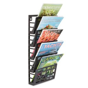 Safco 5-Compartment Magazine Rack, 9-1/2w x 5-1/2d x 21-1/2h, Black (SAF4661BL)