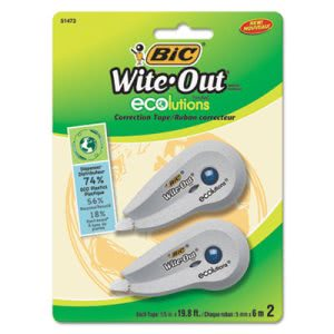 Bic Wite-Out Ecolutions Mini Correction Tape, White, 2/Pack (BICWOETP21)