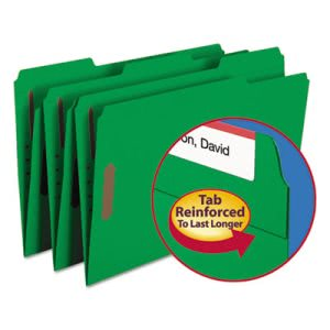 Smead Folders, Two Fasteners, 1/3 Cut Top Tab, Legal, Green, 50/Box (SMD17140)