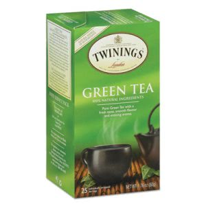 Twinings Tea Bags, Green Tea, 1.76 oz, 25 Tea Bags/Box (TWG09187)