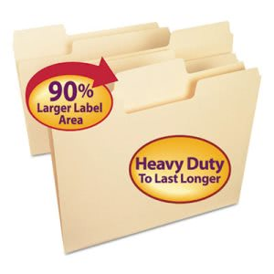 Smead SuperTab Heavyweight Folder, Manila, 1/3 Cut, Letter, 50/BX (SMD10401)