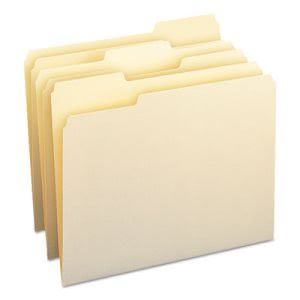 Smead File Folders, 1/3 Cut Assorted, Letter, Manila, 100 per Box (SMD10330)