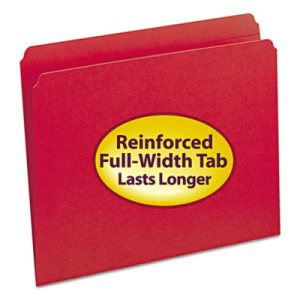 Smead File Folders, Straight Cut, Reinforced Tab, Red, 100/Box (SMD12710)
