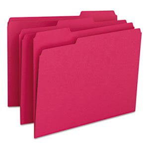 Smead File Folders, 1/3 Cut Top Tab, Letter, Red, 100/Box (SMD12743)