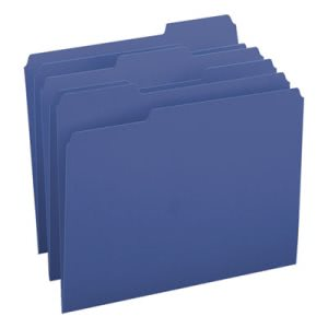 Smead File Folders, 1/3 Cut Top Tab, Letter, Navy, 100/Box (SMD13193)