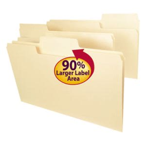 Smead SuperTab File Folders, 1/3 Cut Top Tab, Legal, Manila, 100/Box (SMD15301)