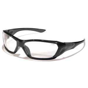 Crews ForceFlex Safety Glasses, Black Frame, Clear Lens (CRWFF120)