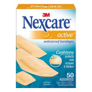 3m Nexcare Waterproof Bandages, Assorted Sizes, 50/Box (MMM43150)