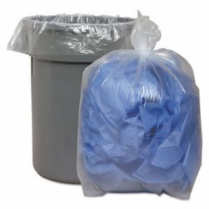 60 Gallon Clear Garbage Bags, 38x58, 1.75mil, 100 Bags (BWK538)