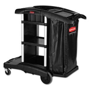 Rubbermaid 1861429 Executive High Capacity Janitor Cart, Black (RCP1861429)