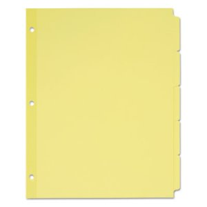 Avery Write-On Plain Tab Dividers, 5-Tab, Letter, Buff, 36 Sets/Box (AVE11501)